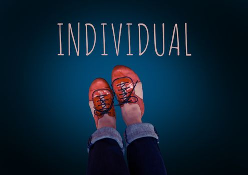 Individual text and red shoes on feet with blue background