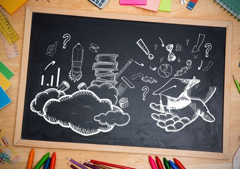 Digital composite of Education drawings on blackboard