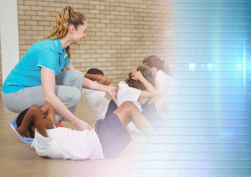 Physical Education teacher with class