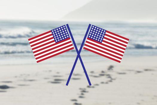 USA flags in the beach