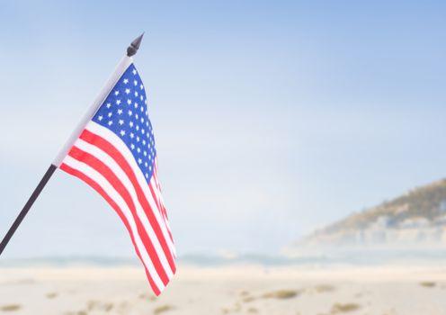 USA flag in the beach