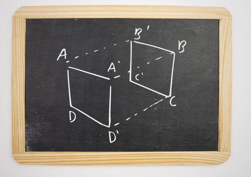 geometry cube measurement diagram on blackboard