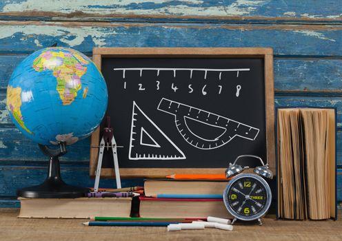 ruler measurement on blackboard