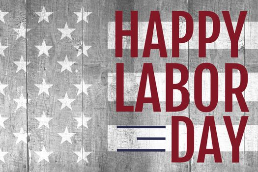Labor day text over US flag