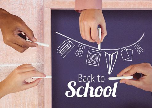 Digital composite of Hands drawing back to school text and stationery  on blackboard