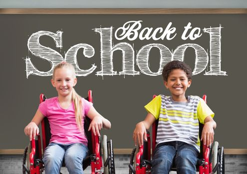 Digital composite of Back to school text on blackboard with disabled boy and girl in wheelchairs
