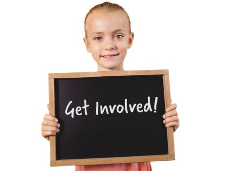 Girl holding blackboard with get involved text
