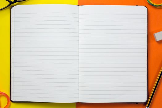 Open organizer on craft paper