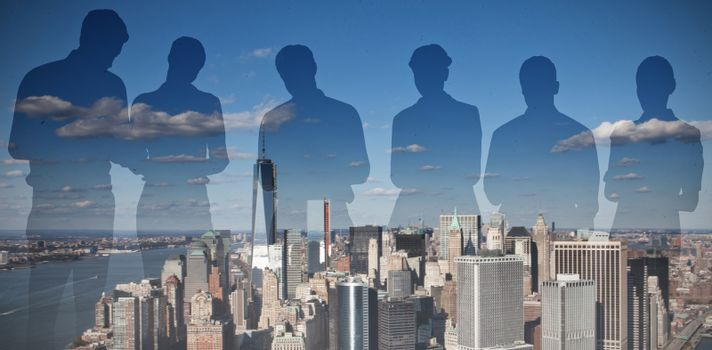 Composite image of silhouettes