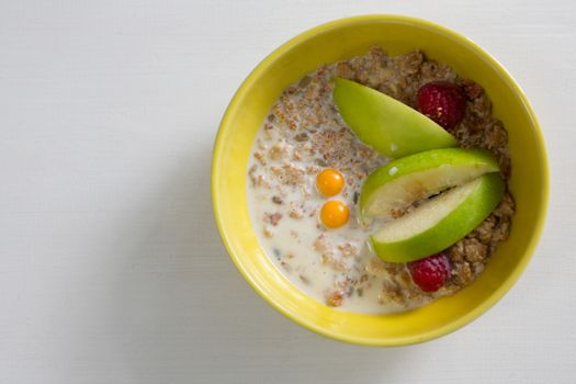 Fruit cereal in bowl