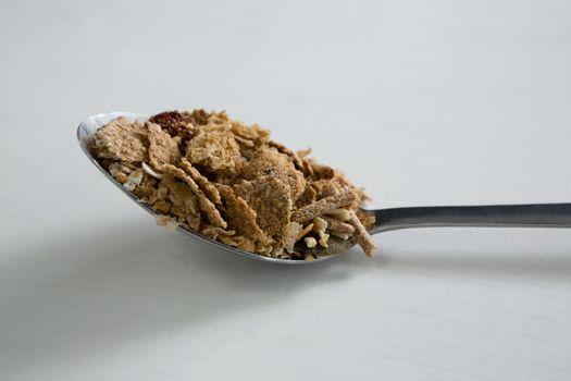 Breakfast cereal on spoon