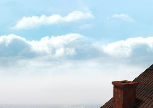 Roof with chimney and clouds