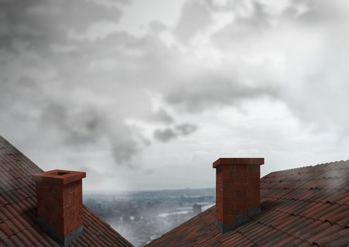 Roofs with chimney and city clouds