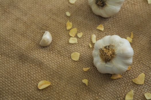Garlics on textile