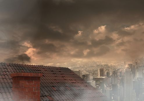 Roof with chimney and city under clouds