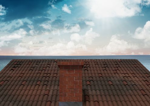 Roof with chimney and ocean sky