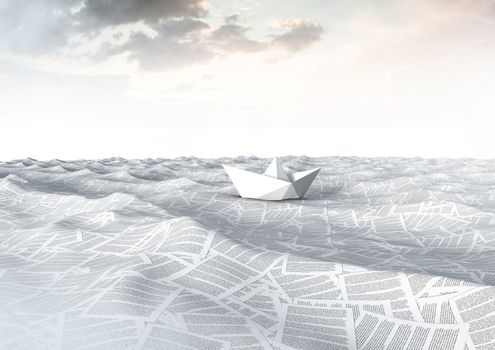 Paper boat on sea of documents under tranquil sky