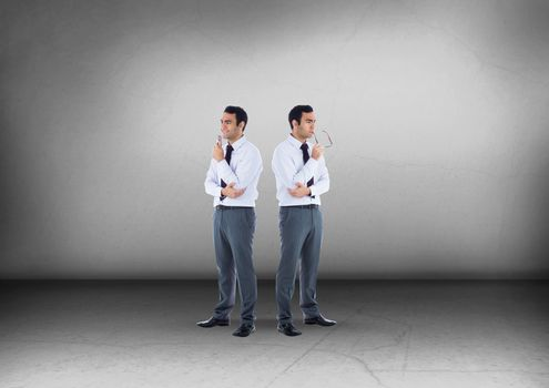 Businessman looking in opposite directions