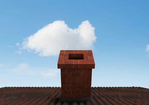 Roof with chimney and blue sky