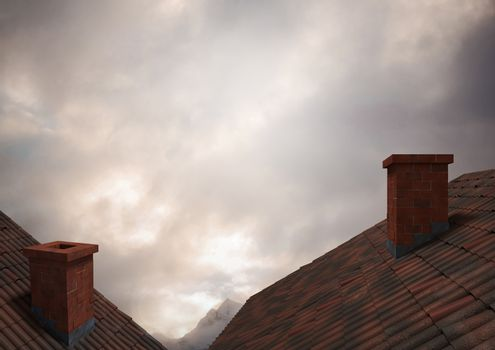 Roofs with chimney and clouds