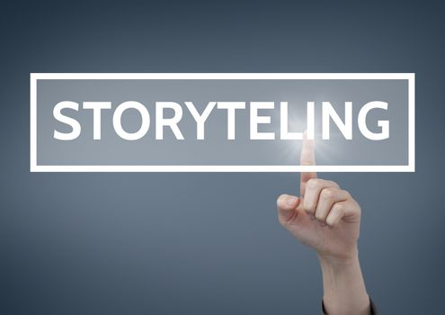 Hand interacting with storytelling business text against blue background