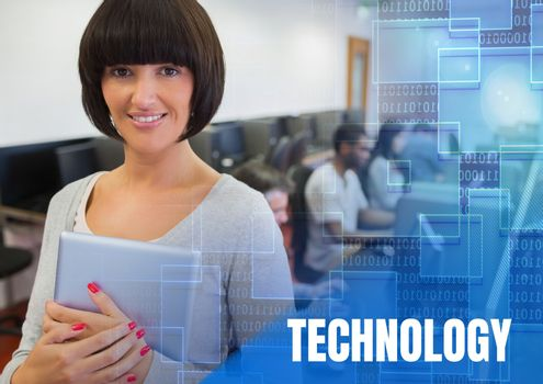 Digital composite of Technology text and University teacher with class in computer room