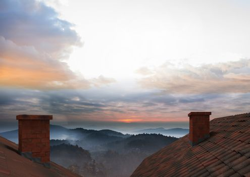Roof with chimney and landscape sky