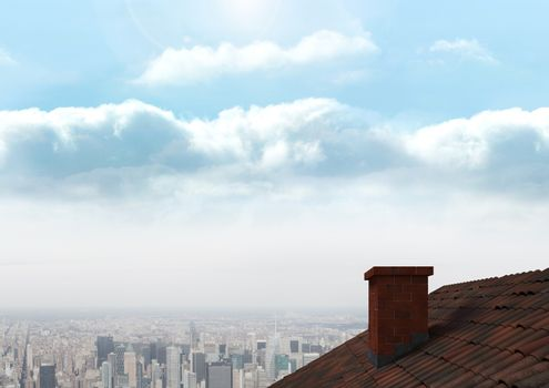 Roof with chimney and city sky
