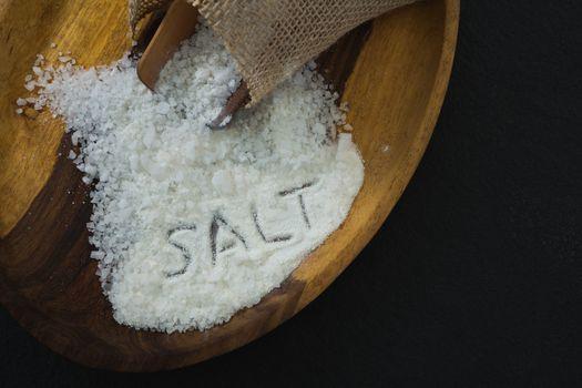 Sea salt spilling out of sack