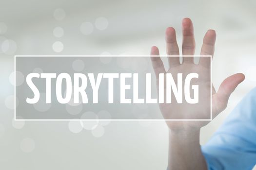 Hand interacting with storytelling business text against white background