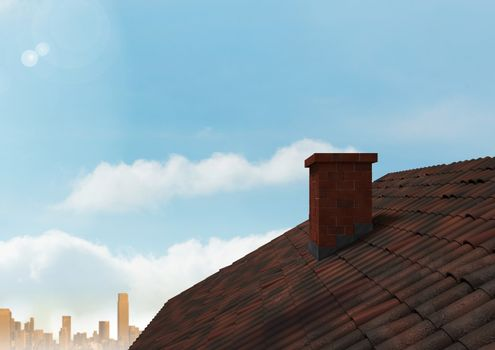 Roof with chimney and city under sky