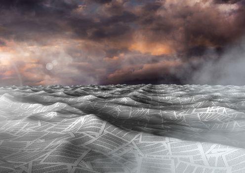 sea of documents under dramatic twilight sky