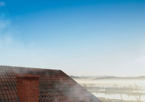 Roof with chimney and  landscape