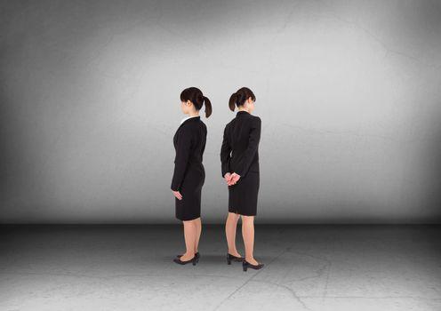 Businesswoman looking in opposite directions