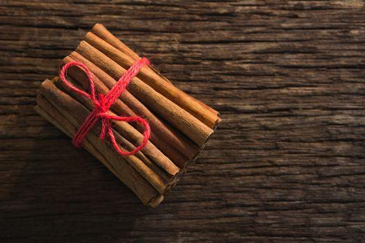 Cinnamon sticks tied with string