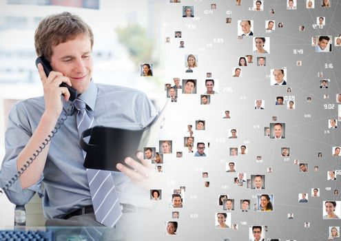 Digital composite of Man holding phone and contact book with Profile portraits of people