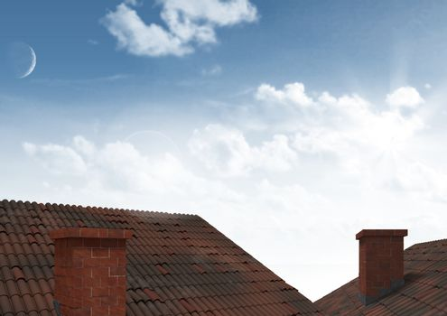 Roofs with chimney and sky