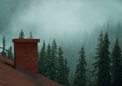 Roof with chimney and misty forest