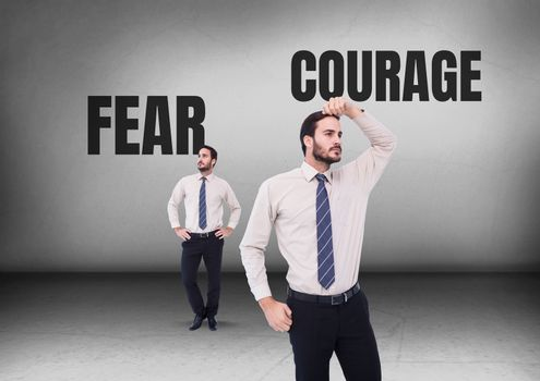 Fear or courage text with Businessman looking in opposite directions