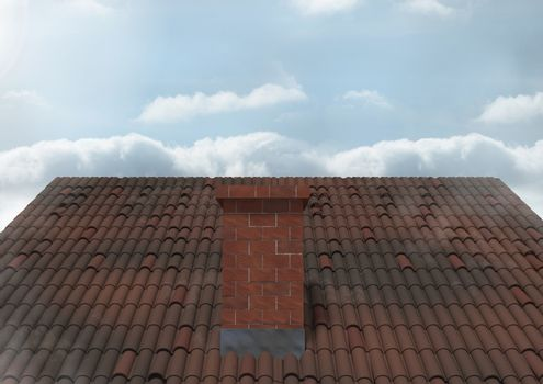 Roof with chimney and sky