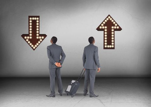 Up or down arrows with Businessman looking in opposite directions