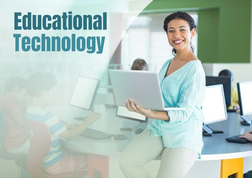 Digital composite of Educational technology text and Teacher with class in computer room