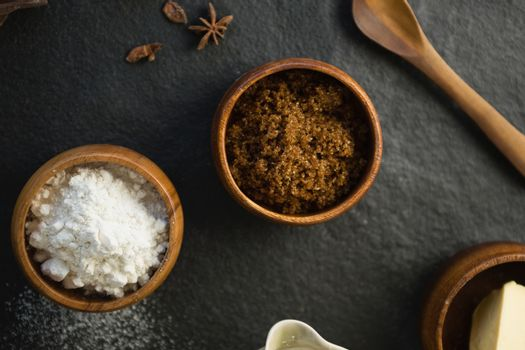 Overhead view of ingredient and flour in bowls