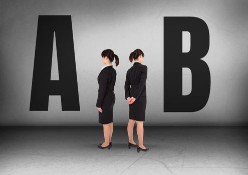 A or B with Businesswoman looking in opposite directions