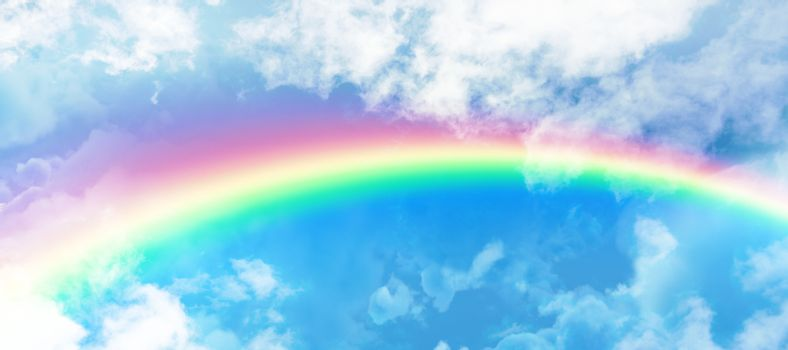 Composite image of graphic image of vibrant color rainbow