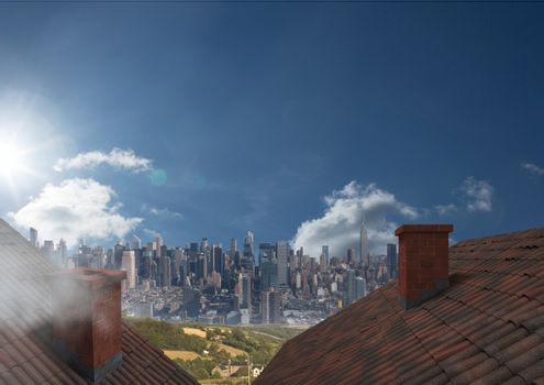 Roofs with chimney and big city