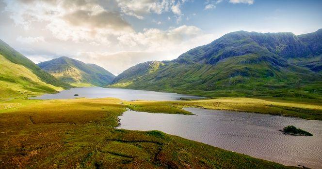 Idyllic view of mountains and lake