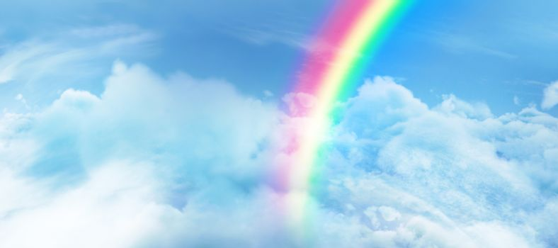 Composite image of digital image of vibrant color rainbow