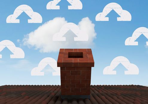 Cloud icons over roof chimney
