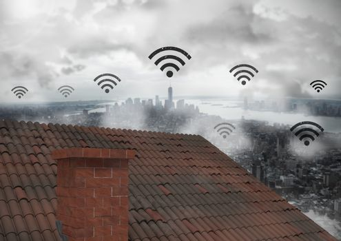 Wi-fi icons over roof and city